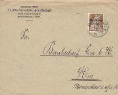INFLA  DR 124  EF, Auf Orts-Brief Der Kalkwerke AG, Mit Stempel: Aschaffenburg 19.AUG 1921 - Infla