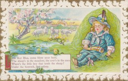 Nursery Rhyme ´Little Boy Blue Come Blow Your Horn´ Boy Sheep, Pocatello & Boise RPO, C1910s Vintage Postcard - Fairy Tales, Popular Stories & Legends