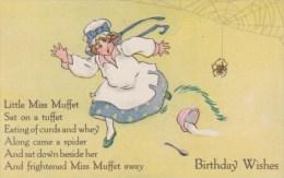 Nursery Rhyme ´Little Miss Muffet´ Spider, Birthday Wishes, C1910s/20s Vintage Postcard - Fairy Tales, Popular Stories & Legends
