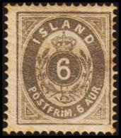 1876. Aur-Issue. 6 Aur Grey. Perf. 14x13½ (Michel: 7A) - JF191462 - Oblitérés