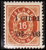 1902. I GILDI. 16 Aur Brown. Perf. 12 3/4. Black Overprint (Michel: 29B) - JF191464 - Oblitérés
