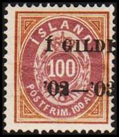 1902. I GILDI. 100 Aur Brown/lilac. Perf. 14x13½. Black Overprint (Michel: 34A) - JF191463 - 1873-1918 Dänische Abhängigkeit