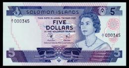 Solomon Islands 5 Dollars 1977 A/1 Low Number UNC - Solomon Islands