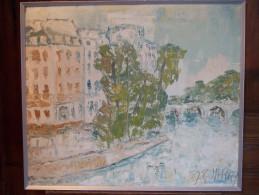 - LOUIS JARRY - Peinture Au Couteau - Bord De Rivière - - Huiles