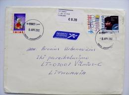 Cover Sent From Netherlands Cartoon Disney Duck Atm Stamp Label Tour De France - 1980-... (Beatrix)