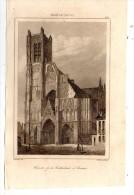 Gravure Sur Acier , XIX éme Siècle , 13 X 21 Cm  , Façade De La Cathédrale D´AUXERRE , XVe , Frais Fr : 1.60€ - Stiche & Gravuren