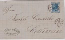 ITALIE 1876 LETTRE DE MESSINA - 1861-78 Vittorio Emanuele II