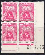 Timbre Préoblitéré  N° 75**,type Chiffre Taxe 5 F