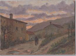 Tableau - Huile Sur Panneau - Signé Bonato Paolo, Né à Borso Del Grappa (Italie) - Vue Du Village - Dim: 24 X 17.7 Cm - Huiles