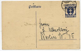 DANZIG 1921 30 Pfg. Postal Stationery Card On Ivory Stock, Used.  Michel P11b - Danzig
