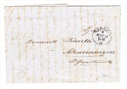 Heimat ZH HORGEN 8.3.1859 Einkreisstempel Auf Brief Ohne Marken Nach Schweiningen GR - 1854-1862 Helvetia (Non-dentelés)