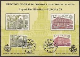 España Hoja Recuerdo 1978 HR 059 Europa.Matasellada - Commemorative Panes
