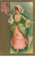 FEMMES - FRAU - LADY -  Jolie Carte Fantaisie Portrait Femme élégante Avec Ombrelle - Femmes