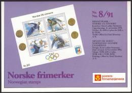 NORWAY Pres.pack No 8/1991 «Norwegian Olympic Champions» Souv.block NK 1123-26 - Norwegen