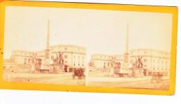 Vieille Photo Stereoscopique Rome Monte Et Cavallo Voiture A Cheval  Vers 1870 Italie - Stereoscopic