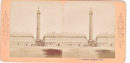 Vieille Photo Stereoscopique  Paris Colonne Vendome Vers 1870 - Stereoscopic