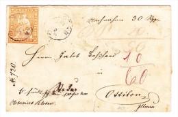 Heimat ZH KLOTEN 18.10.1859 Strubel 20Rp. Auf Nachnahme Nach Ottikon Balkenstempel Als Ankunft - 1854-1862 Helvetia (Non-dentelés)