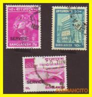 BANGLADES  3 SELLOS   AÑO 1976 - TIMBRE SERVICE - Bangladesh