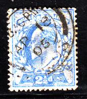 Great Britain Used Scott #131 2 1/2p Edward VII, Ultramarine CDS AP 08 05 - Thinned, Perf Faults - 1902-1951 (Rois)