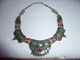 Ancien Collier Argent  Nepal Corail Turquoises - Etnica