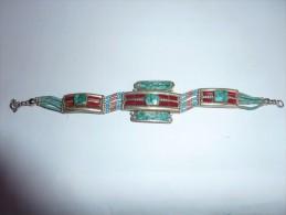 Ancien Bracelet Argent  Nepal Corail Turquoises - Etnica