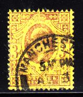 Great Britain Used Scott #132 3p Edward VII, Purple & Yellow - 1902-1951 (Rois)