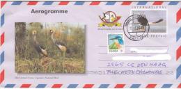 UGANDA Aerogramme Crested Cranes With Imprinted Stamp (Fish Eagle) USED Ouganda - Uganda (1962-...)