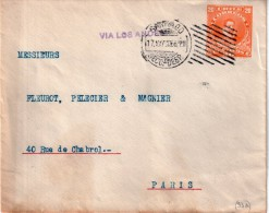 """CHILI : ENTIER POSTAL . 20 Cts . VIA """" LES ANDES """" . POUR """" PARIS """" . 1915 . - Chile"""