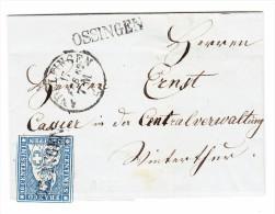 Heimat ZH OSSINGEN Stabstempel Mit 10Rp. Strubel Auf Brief über Andelfingen 17.2.1862 Nach Winterthur - Lettres & Documents