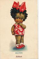 """ENFANTS - LITTLE GIRL - MAEDCHEN - Jolie Carte Fantaisie Portrait Petite Fille Noire """"Solitude """" - Dolly - Serie - Dessins D'enfants"""