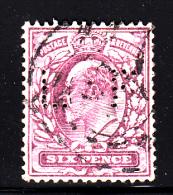 Great Britain Used Scott #135b 6p Edward VII, Red Violet Perfin: LF - LL Corner Perf Thin - Grande-Bretagne