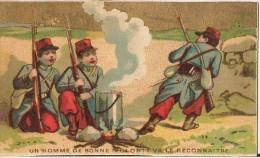 CHROMO GRAND BAZAR NATIONAL RUE DE CLIGNANCOURT A PARIS UN HOMME DE BONNE VOLONTE VA LE RECONNAITRE  SOLDAT - Trade Cards