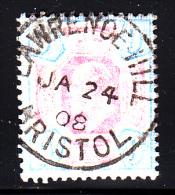Great Britain Used Scott #136 9p Edward VII, Ultramarine & Dull Violet SON CDS 'Lawrence Hill Bristol JA 24 08' - 1902-1951 (Rois)