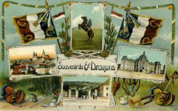 7439 -  Cpa Multi-vues (8 Images) Souvenirs Du 6e Dragons, Casernes, Drapeaux, Matériels - Reggimenti