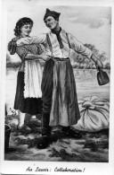 7440 -   Flirt Poussé Au Lavoir, Collaboration Entre Le Militaire Et La Lavandière, Illustration De Gilbert - Humoristiques