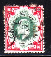 Great Britain Used Scott #138a 1sh Edward VII, Scarlet & Dark Green Perfin: LF - Perf Faults, Album Adherence - Grande-Bretagne