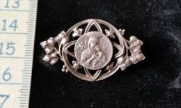 Broche Religieuse,argent,  Sainte Marie, Art Nouveau , 1900 Env - Broches