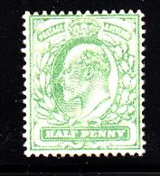 Great Britain Unused Scott #143 1/2p Edward VII, Pale Yellow Green - 1902-1951 (Rois)
