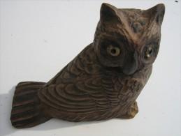 Chouette Sculptée En Bois - Hauteur 18 Cm  Longueur 20 Cm  - Travail Artisanal - Bois