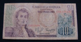 COLOMBIA 10 PESOS 1980, VF-. - Colombia