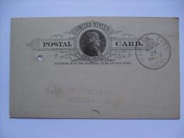 USA 1889 POSTCARD PAWNEE CITY NEBRASKA TO BURCHARD NEBRASKA - Brieven En Documenten