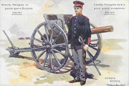 L'Armée Portugaise 1914-1917 - Artilharia (Artillerie) - Canon - Illustration Signée (Mores?) - Carte Non Circulée - Uniformes
