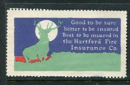 """Best To Be Insured In The Hartford Fire Insurance Co Poster Stamp Vignette Label No Gum 2 7/8 X 1 5/8"""" - Cinderellas"""