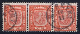 ICELAND: Mi Nr 53  Used  1907  Strip - 1873-1918 Dänische Abhängigkeit