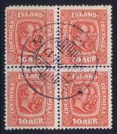 ICELAND: Mi Nr 53  Used  1907  4-block - 1873-1918 Dänische Abhängigkeit