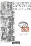 1995 12 PHILAPOSTKAARTEN BOEKENBEURS ANTWERPEN MET PZ 2569(*6) + 2570(*6) MET GEDENKSTEMPELS VAN SCHRIJVERS ZIE SCAN(S) - Stamped Stationery
