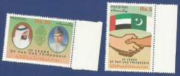 PAKISTAN 2001 MNH 30TH ANNIV OF PAKISTAN - UAE DIPLOMATIC RELATIONS JINNAH SHEIKH ZAYED FLAGS