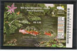 BRESIL. Poissons Cichla ( São Benedito River) Pará Province.un Bloc-feuillet Neuf **, Année 2009 - Fishes