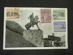 Carte Postale Kruja Das Skanderbeg Denkmal 11/02/1962 - Albania