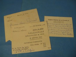 CARTE AUTOGRAPHE DE ROBERT PROTON DE LA CHAPELLE 1942 COMPOSITEUR ADJOINT MAIRE LYON OPERA à HENRI BERAUD - Autogramme & Autographen